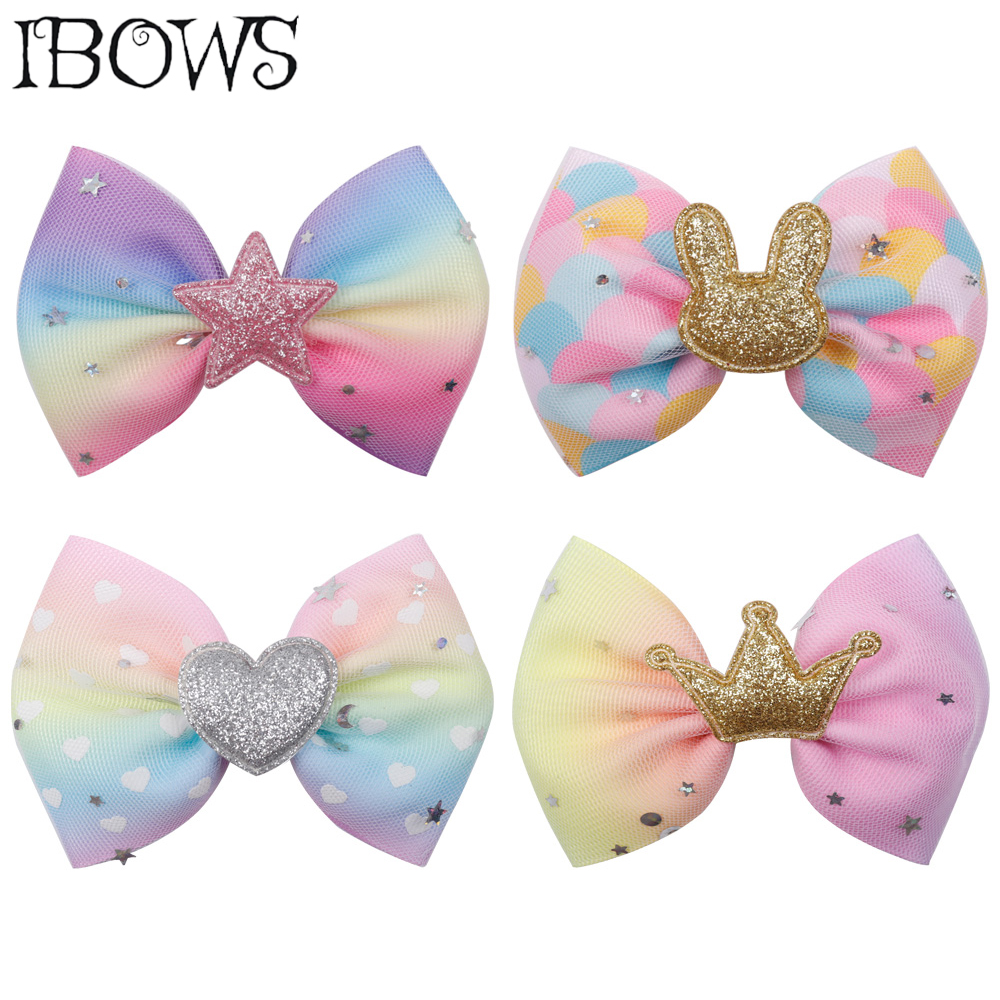 IBOWS Hair Accessories 4 Inch Candy Color Hair Bow Rainbow Mini Hair Clips For Girl Rainbow hairbow DIY   Headwear   Valentine's Day