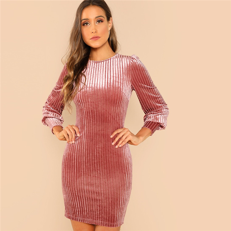 COLROVIE Pink Solid Ribbed Elegant Velvet Dress Women Clothes 2018 Autumn Long Sleeve Sexy Ladies Dresses Bodycon Short Dress 5