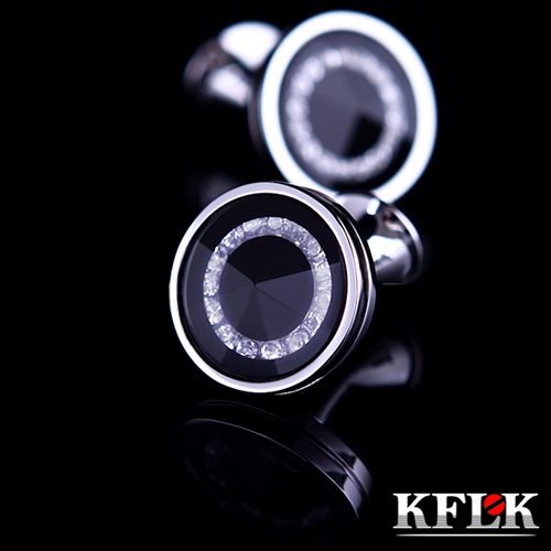 KFLK Luxury HOT Shirt Cufflink For Men's Gift Brand Cuff Buttons Crystal Cuff Link High Quality Black Abotoaduras Jewelry