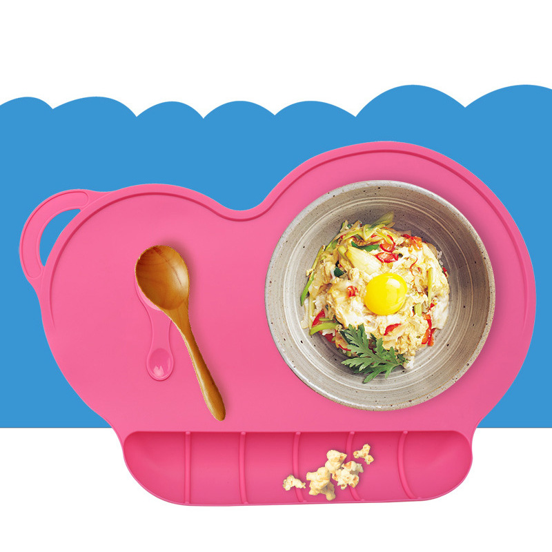 Baby Silicone Table Mat Infant Feeding Bib Children Antiskid Plate Portable Placemat Non-slip Tray Dish Easy Clean Bowl T0510