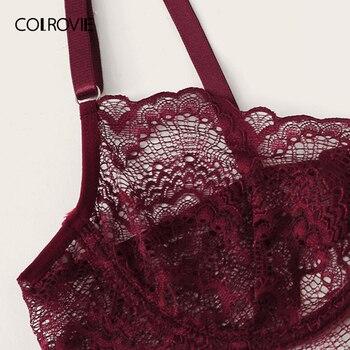 COLROVIE Burgundy Floral Lace Garter Sexy Lingerie Set Women Intimates 2019 Underwire Transparent Bra And Thongs Underwear Set 4