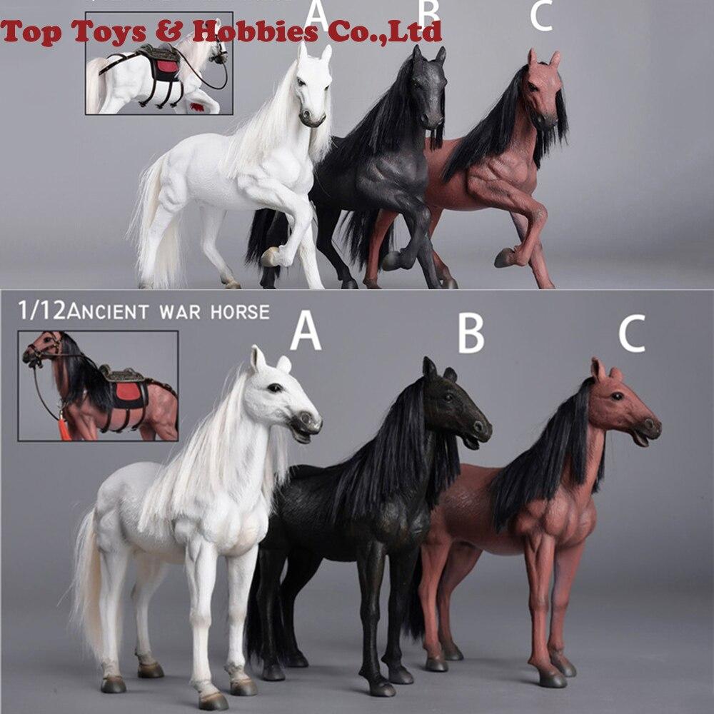 Pour figurine 1/12 échelle cheval de guerre ancien ZM001/ZM002 Ver de course./modèle Animal vivant debout avec accessoires