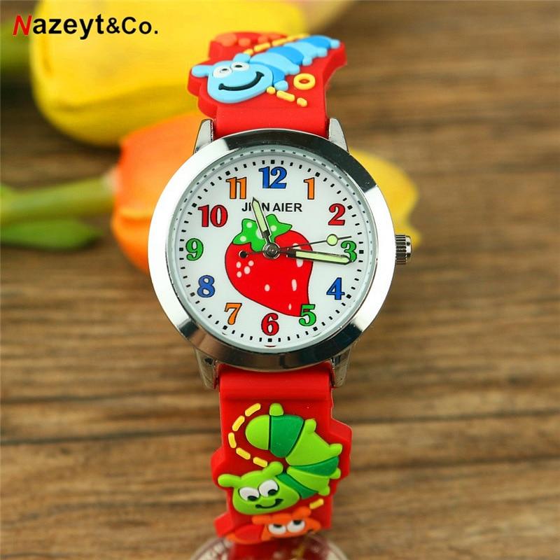 Free Shipping NAZEYT Kids Cartoon Watch Little Boys Girls Sweet Strawberry Face 3D Caterpillar Dial Silicone Strap Quartz Clock