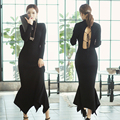 Autumn winter women knit dress long sleeve black sexy Backless fish tail package hip Turtleneck vestidos bandage sweater dresses