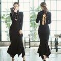 Outono inverno mulheres knit dress manga comprida preta sexy pacote hip gola alta vestidos bandage sem encosto rabo de peixe vestidos de camisola