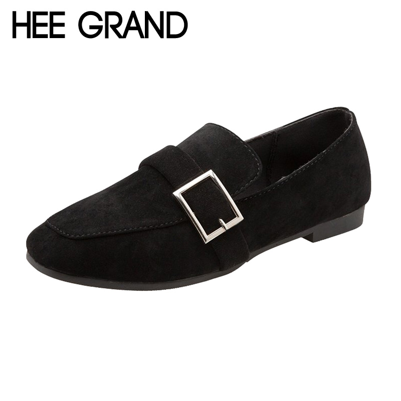 HEE GRAND Women Spring Flats for Work Slip on Women Causal Shoes with Buckle Decoration Qualities Flats For Ladies XWD6309
