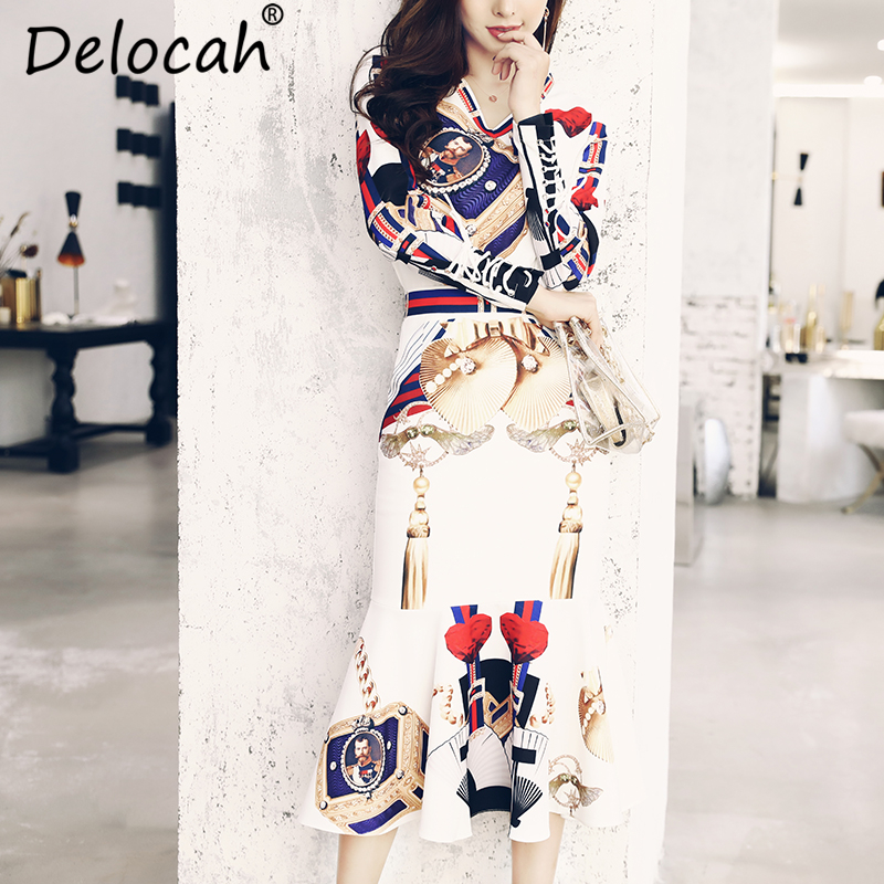 Delocah Autumn Women Set Runway Fashion Designer Sexy V Neck Bag Printed Coat+Fish tail Slim Skirt Two Pieces Set Lady Suit