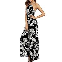 2019 Women Summer Sexy Floral Printing Thin Sleeveless Backless Holder Prom Date Beach Summer Dress Dame Party Boho Maxi Dress