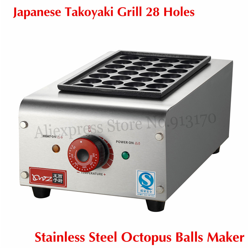 Stainless Steel Japanese Snack food Takoyaki Octopus Dumplings Cooker Meatballs Maker 28 Holes 40mm/18 Holes 45mm Ball fast food leisure fast food equipment stainless steel gas fryer 3l spanish churro maker machine