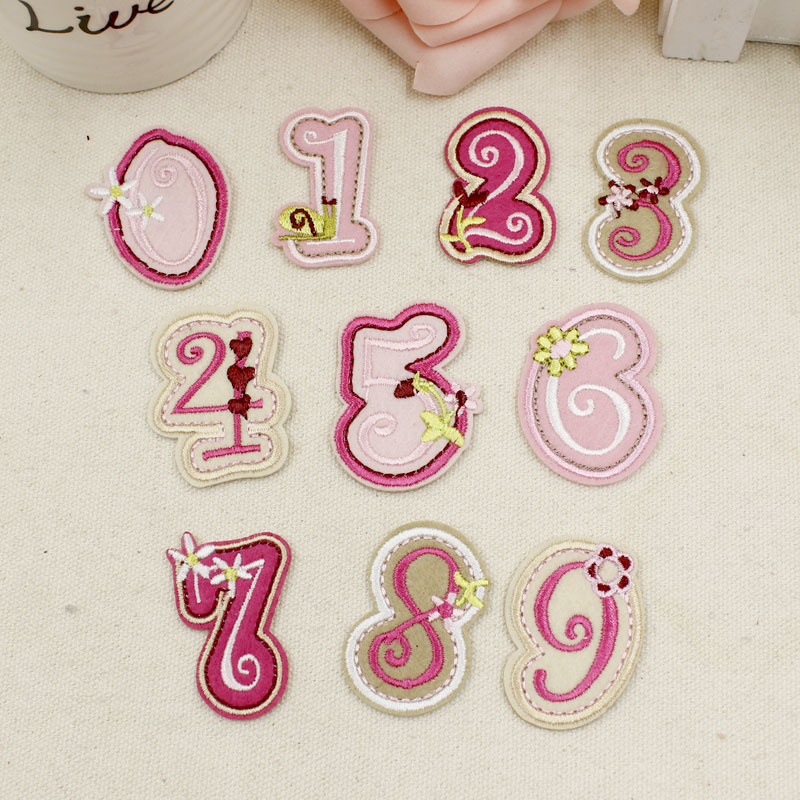Textile Tribe Store 10 pcs/lot The Arabic Numeral Lovely Style Patch Embroidery Applique