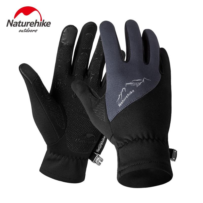 NatureHike Winter Men Women Outdoor Sports Warm Fleece Touch Screen Gloves Full Finger Climbing Cycling Gloves