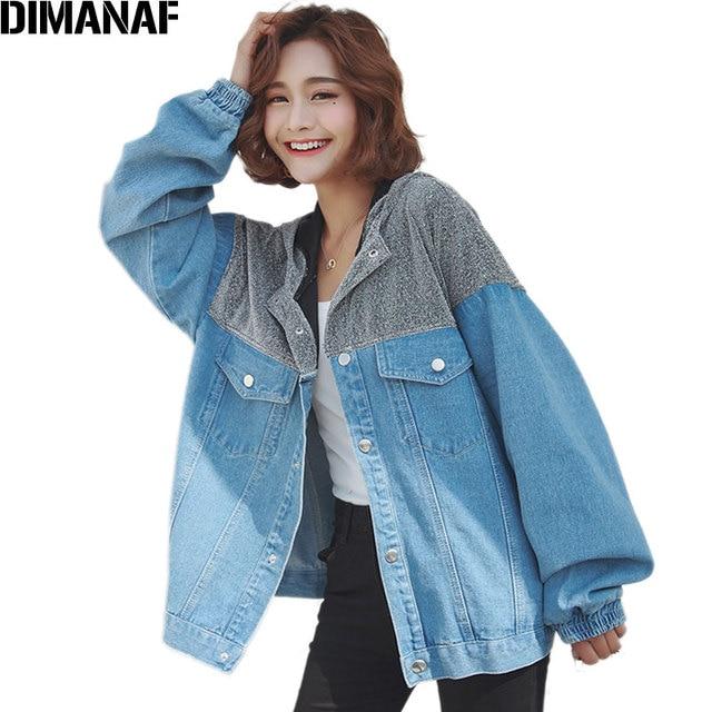 38fabafc0e2 DIMANAF Women Jacket Coat Denim Autumn Plus Size Long Sleeve Cardigan Femme  Fashion Loose Outerwear Hooded