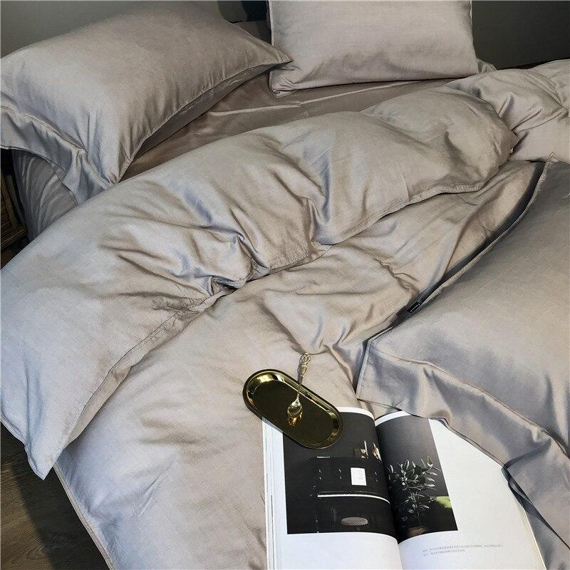 Image 2 - Gray Silver Tencel Silk Soft Bedding set Queen King size Bed set bed sheet Duvet cover Fitted sheet parure de lit ropa de camaBedding Sets   -