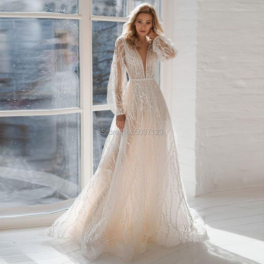 Long Sleeves Wedding Dresses Sparkling Deep V Neck Open Back Vestido De Noiva Court Train Bridal Wedding Gowns Plus Size