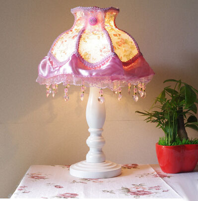 Princess Sewing Lamps, AC85 265V 3W Led Table Light Pink Fabric Wooden  Children Bedroom Bedside Lamp