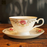 Flower Creative Ceramic Coffee Cup Porcelain Set British Bone Porcelain Cup Saucer Sets Beker Porcelein Home Supplies WKD090