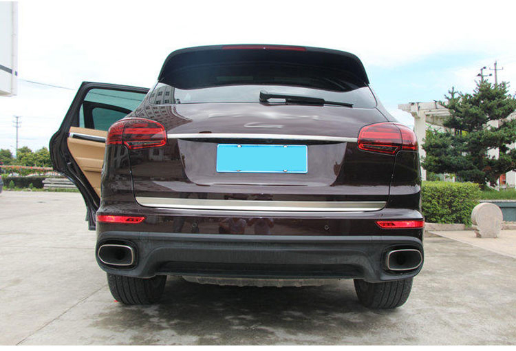 ФОТО 2pcs chrome High quality stainless steel trunk lid cover trim for 15 porsche cayenne car styling