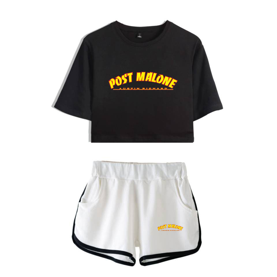 Post Malone Two Piece Sets 2019 New Cool Name Lodo Singer Fashion For Women Crop Top Casual Clothes Summer Short Pants+T-shirts