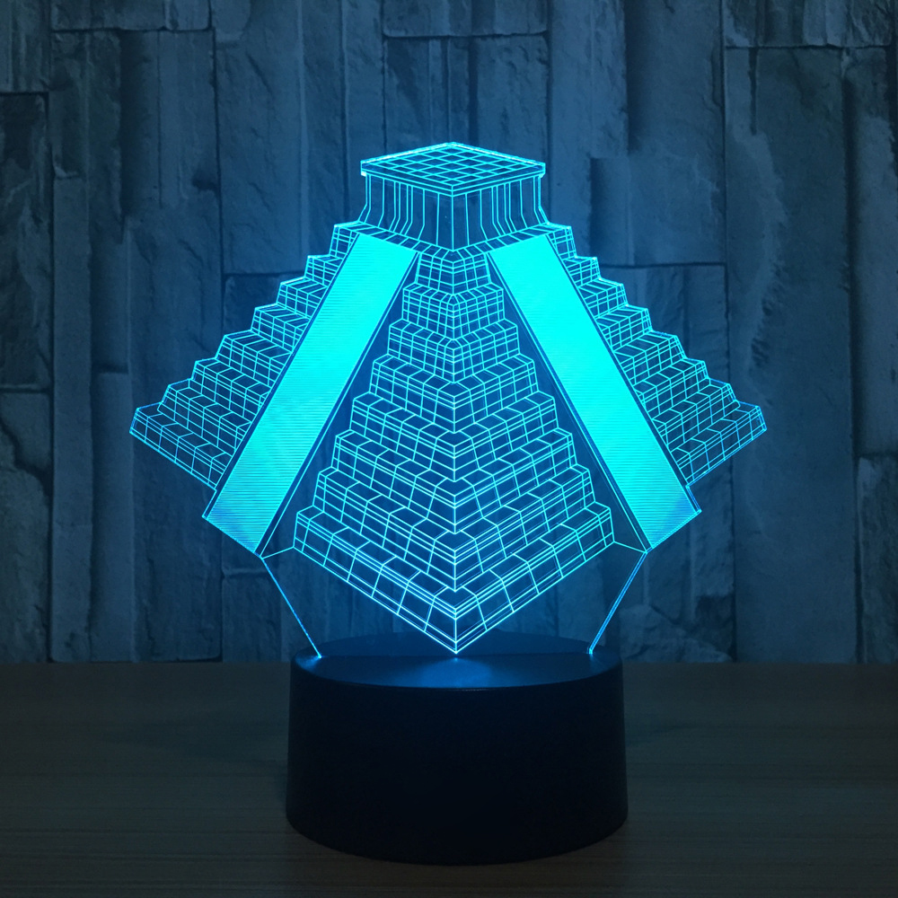 3D LED Pyramid Light 7 Colors Changing Atmosphere Mood Lamp USB Bedside Sleep Table Night Light Bedroom Office Home Decor Gifts 3d fire engine modelling table lamp 7 colors changing fire truck car night light usb sleep light fixture bedroom decor kids gift