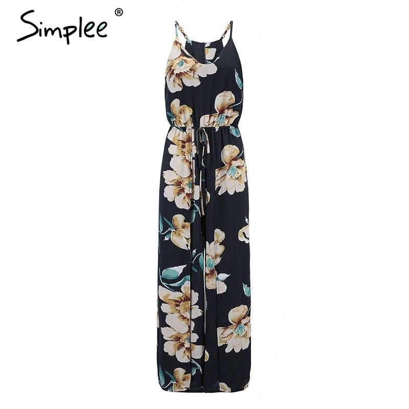 Simplee V neck boho floral print beach jumpsuit women Strap high waist sexy jumpsuit Wide leg split summer jumpsuit 2018
