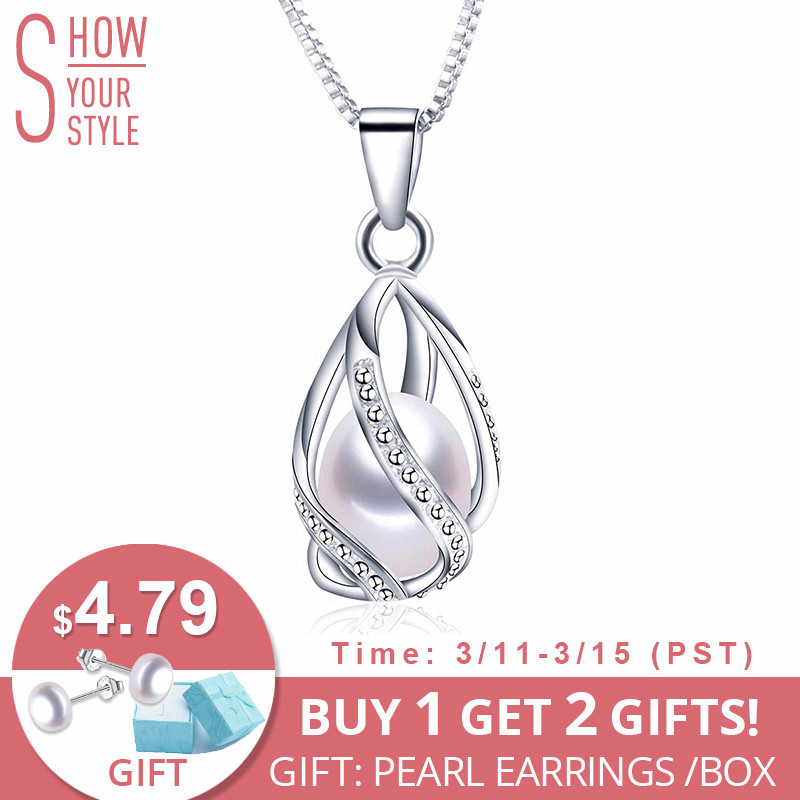 c1019525c061b5 Classic Special Design 8-9mm Natural Pearl Pendant Necklace with 45cm  Silver Chain 4 colors