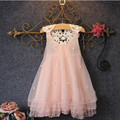 TangFar Summer Girl Lace Costume Dressse Children Sleeveless Outfits Mesh Kids Ball Party Wear Kids O-neck Clothing