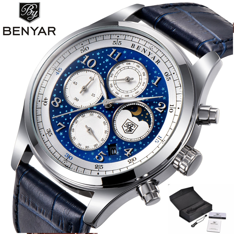 BENYAR Top Brand Starry Luxury Dial Watch Men Chronograph Quartz Clock Shell Genuine Leather Reloj Hombre Unique Watches for Men armiforce quartz men watches fashion genuine leather chronograph watch clock for gentle men male students reloj hombre