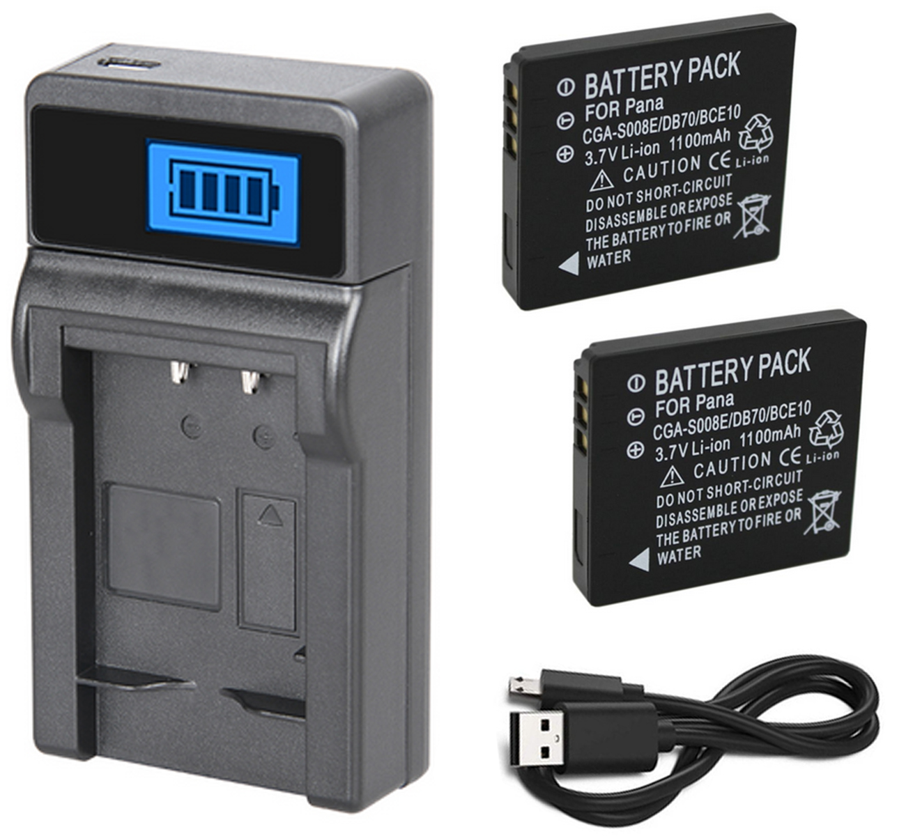 Battery (2-Pack) + Charger For Panasonic Lumix DMC-FX30, DMC-FX33, DMC-FX35, DMC-FX36, DMC-FX37, DMC-FX38 Digital Camera