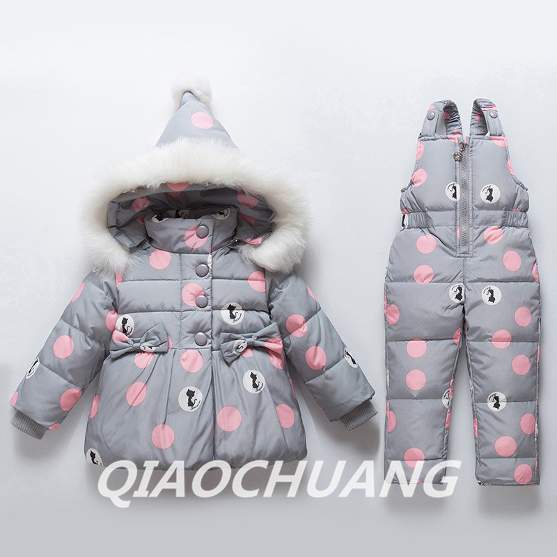 Kids Down Suits Winter Baby Girls Down Jacket Warm Children Fur Collar Outerwear+Jumpsuit Snowsuit Baby Girls Clothing Sets W284 girls europe and the united states children s wear red princess dress child dress kids clothing bow flowers red purple