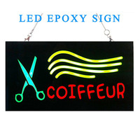 43 23cm Coiffeur Hair Salon Neon LED Open Sign Board Neon Light On Off Switch