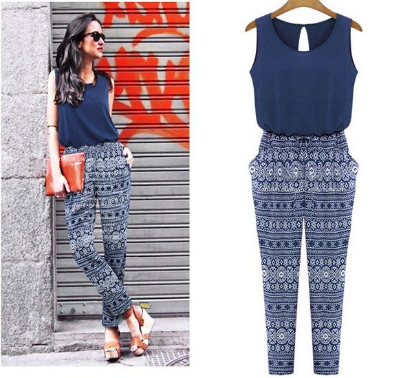 8d5729a35425 Navy Blue Geo-Tribal Printed Rompers Womens Jumpsuit Macacao Feminino  Bodysuit Playsuit Combinaison Femme Jumpsuit