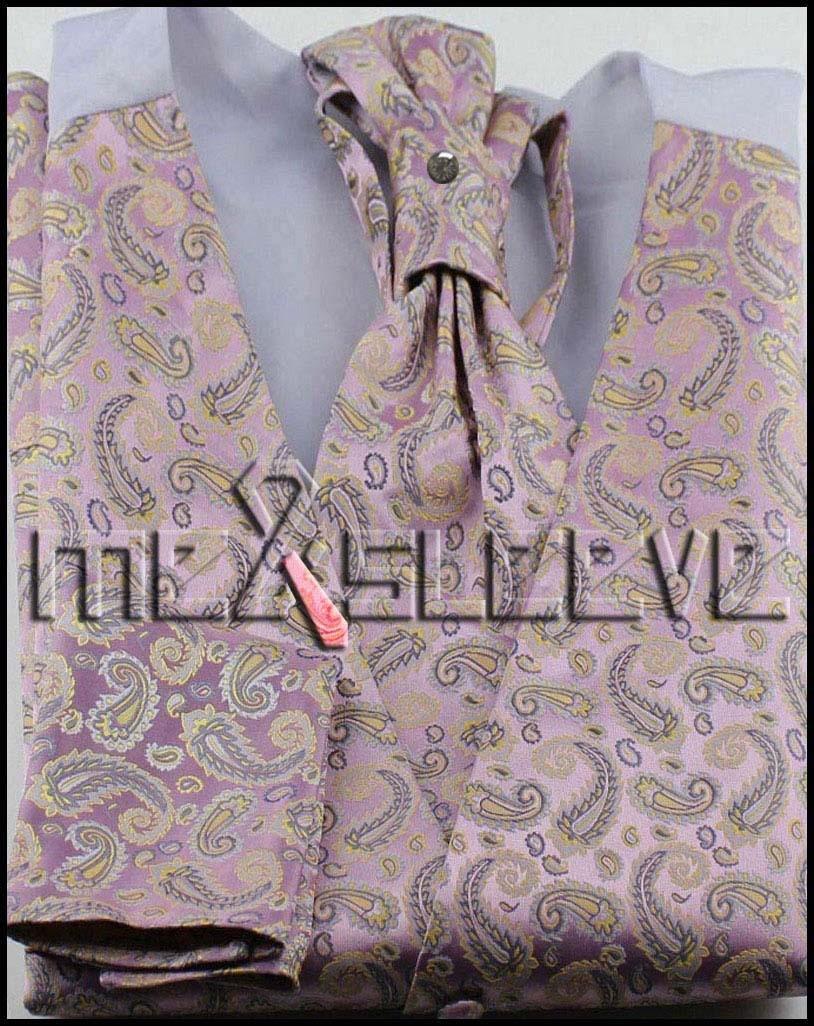 free shipping lovely men designer Waistcoat vest ascot tie cufflinks handkerchief