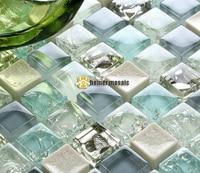 blue crystal glass mixed ceramic mosaic tiles HMGM2026 for living room kitchen backsplash bathroom fireplace wall floor mosaic