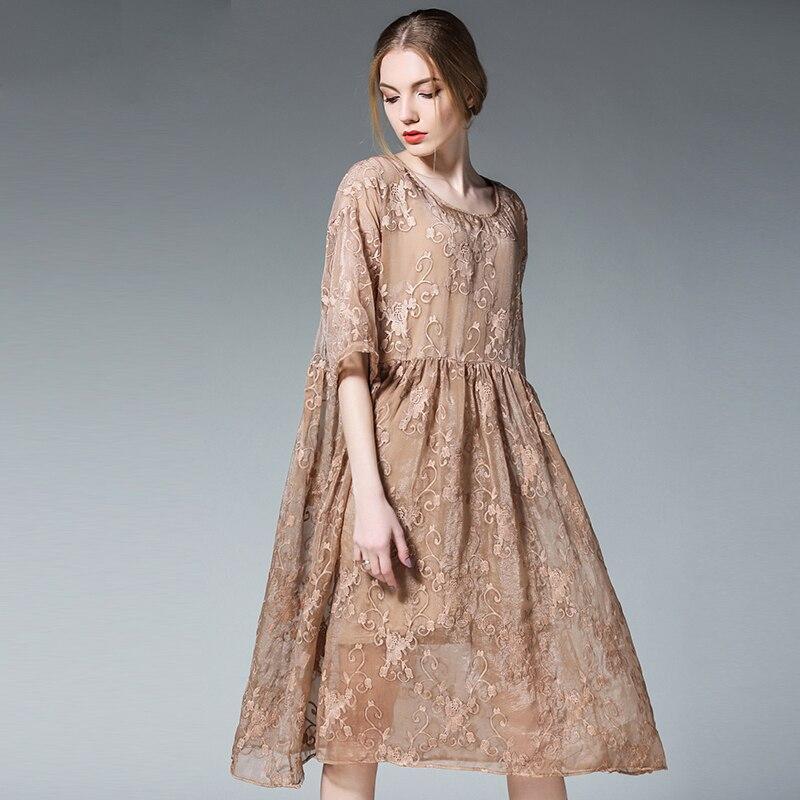 2019 printemps été deux pièces femmes broderie soie lâche robes de grande taille élégant femmes plissée tenue décontractée grande taille