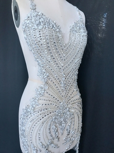 Image 2 - hand made sew on bodice Rhinestones  applique on mesh s crystals full body  patches 86*40cm/75*35cm  wedding dress accessory