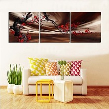 Plum blossom in full bloom modern abstract oil painting 3Pcs/set hand painted on canvas home decor wall art