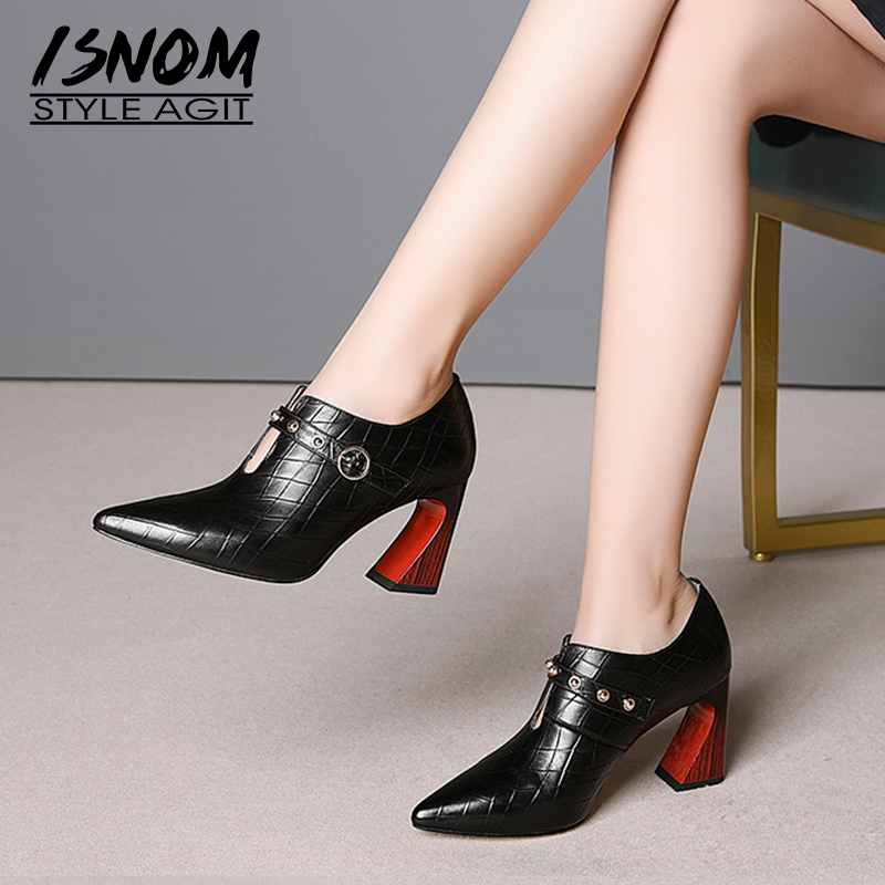 ISNOM Genuine Leather Women Pumps Pointed Toe Footwear Emboss High Heels Lady Shoes Fashion Stud Shoes Woman Spring 2019 New
