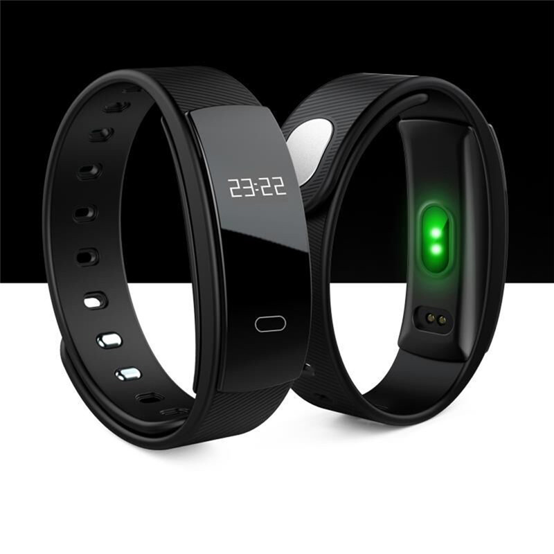 2017 Newest QS80 Smart Wristband 0 42 OLED Heart Rate Monitor Alarm Clock Watches Blood Pressure