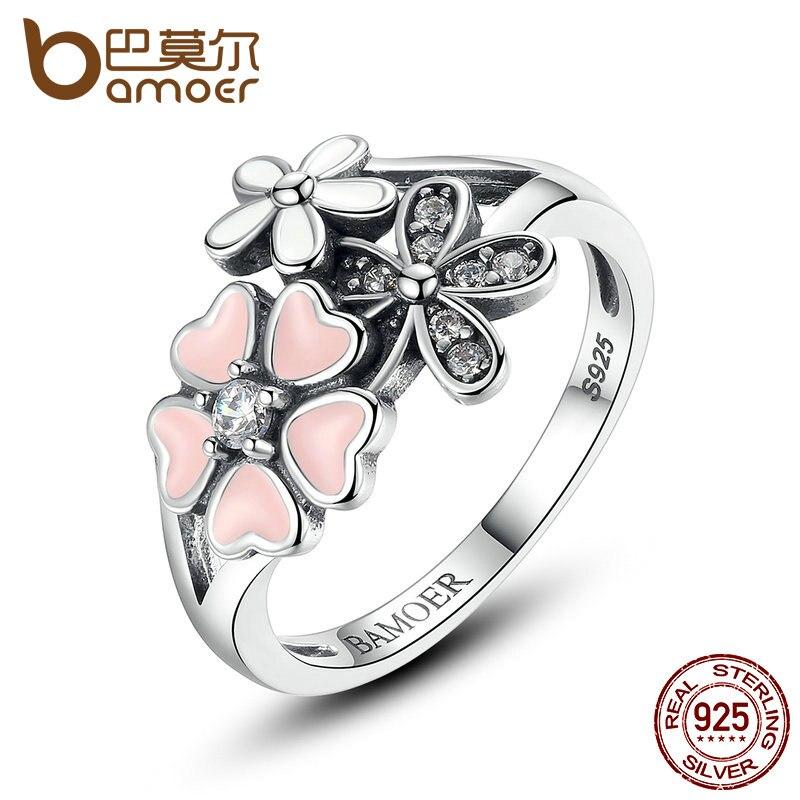 BAMOER 925 Sterling Silver Pink Flower Poetic Daisy Cherry Blossom Finger Ring for Women Engagement Fashion
