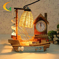 Eight music box pastoral wood bedroom bedside Salt lamps decorative lamp gift ideas vintage wooden sailboat