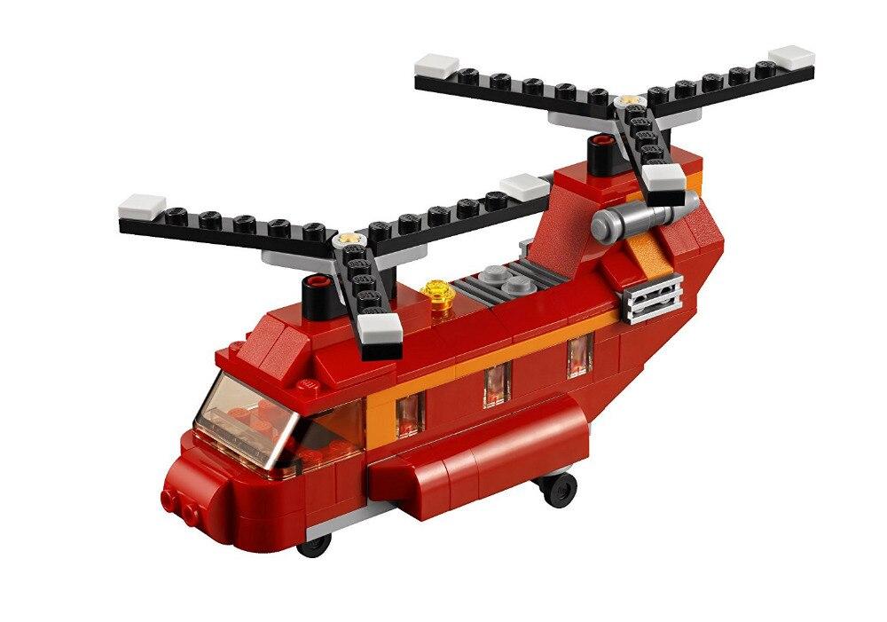 DECOOL 3107 City Creator 3 в 1 Красный Роторов Building Blocks Устанавливает Кирпичи Дети Модель Детей Игрушки Marvel Совместимость Legoe