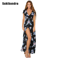 Sukibandra New Summer Floral Print Maxi Long Dress Flowers Women Boho Bohemian Dress Lace Up Vintage