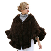 Genuine Mink Fur Cape/Shawl/Poncho /coat With Hoody hand knitting Women mink fur coat in stock Free shipping