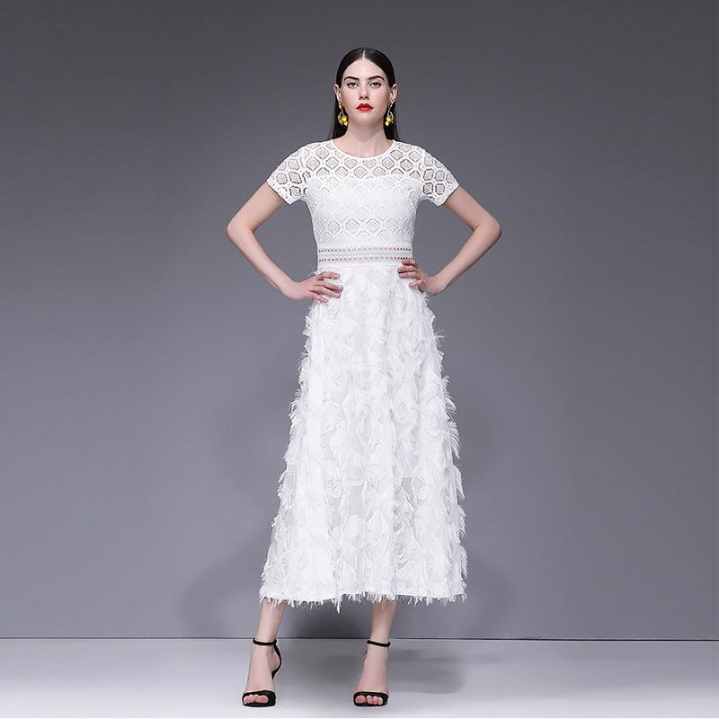 Verano de manga corta cuello gancho hueco de flor de encaje blanco vestido Casual Sexy elegante cena vestido de mujer Maxi vestidos 2019 - 4