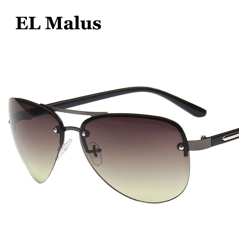 el Malus retro Big Pilot Metal Frame Mens Sunglasses Brand Designer Uv400 Vintage Green Tan Lensmirror Male Fishing Driving Removing Obstruction Men's Glasses