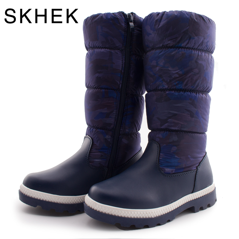 SKHEK Children Round Toe Snow Boots For Girls Boys Platform Plush Botas Kids Rubber Boots Unisex Winter Cotton Fabric Shoes new 2015 botas infantil pu leather boys girls rubber boots for children martin boots kids snow boots sneakers hot item