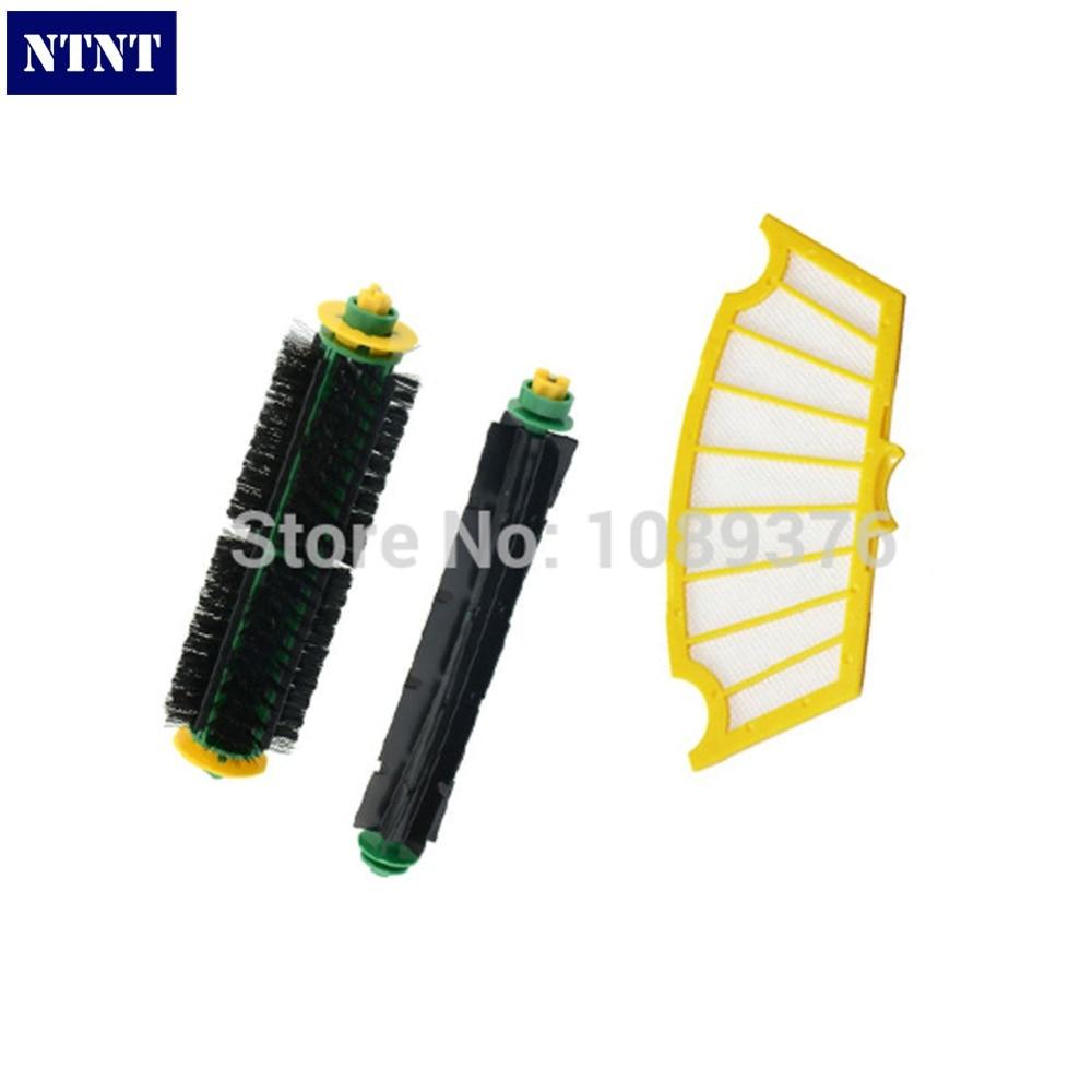 NTNT 1 Set Bristle Brush+Flexible Beater Brush+Filter Replacement for iRobot Roomba 500 510 520 560 570 580 Cleaner ntnt bristle beater brush cleaning tools