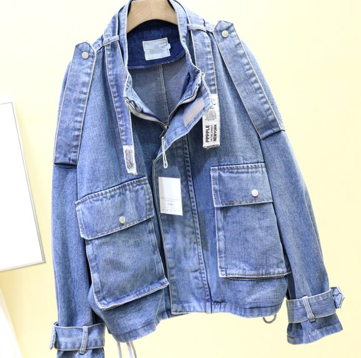 Jean Vintage Trous Ciel Bleu 2019 Coupe Femme Jeans Base Femmes Décontracté De Lâche Veste En vent Streetwear Manteaux Harajuku pu Printemps xwgFv