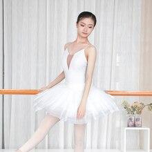 Women Ballet Leotards White Camisole Gymnastics Leotards Adults Sexy Neckline Bodysuit Swimwear недорого