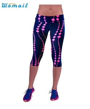 2017 Best Deal High Waist Fitness Yoga Sport Pants Printed Stretch Cropped Leggings Lady Women yoga pants Good-looking AU 17